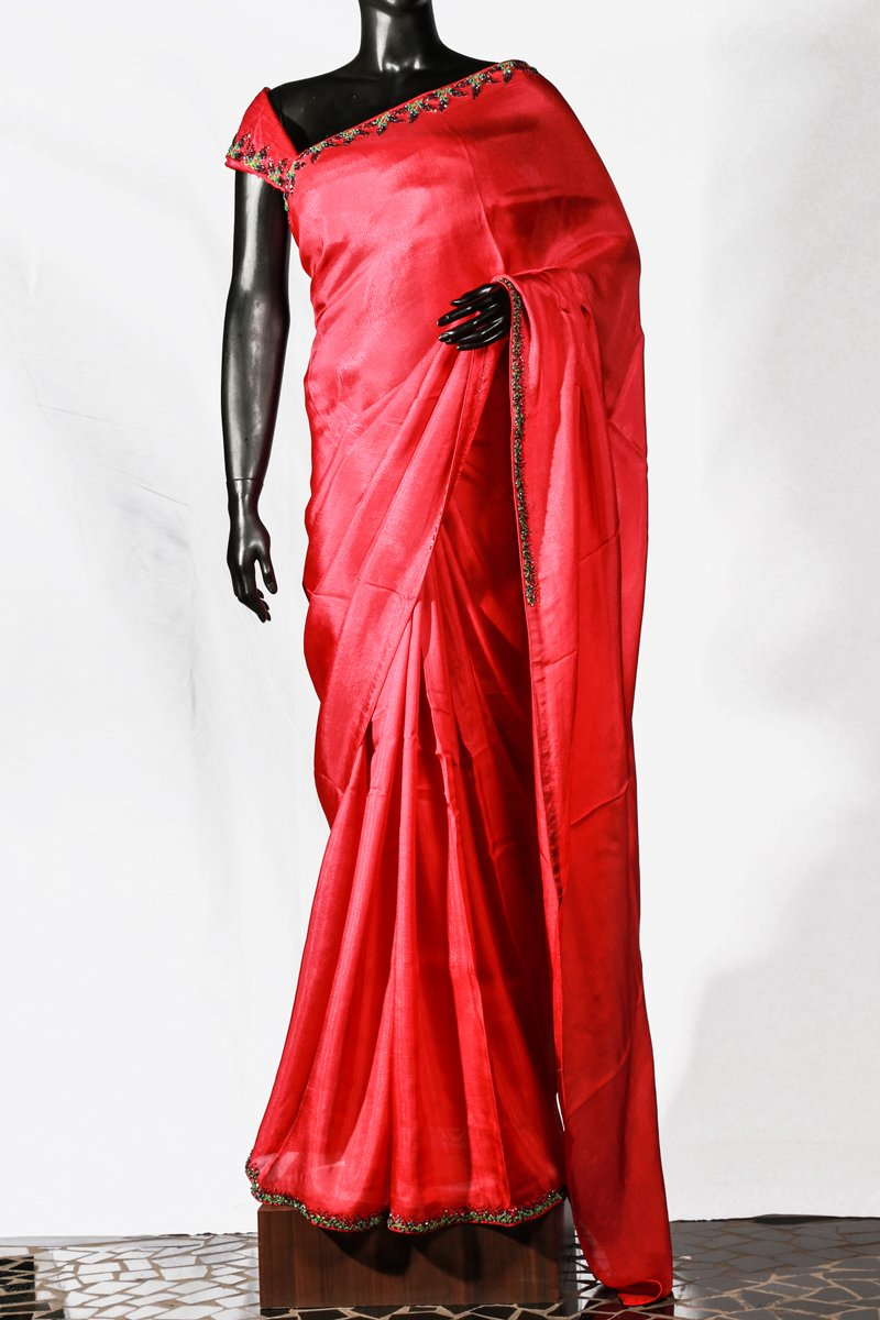 Orange Red Embroidered Crispy Georgette Saree