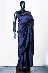 Navy Blue Crispy Georgette Embroidered Saree