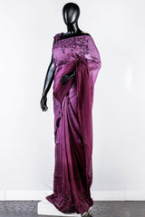 Purple Shaded Embroidered Organza Saree