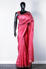 Cerise Pink Embroidered Organza Saree