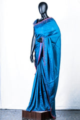 Blue Crispy Georgette Embroidered Saree