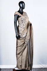 Sandy Brown Crispy Georgette Embroidered Saree
