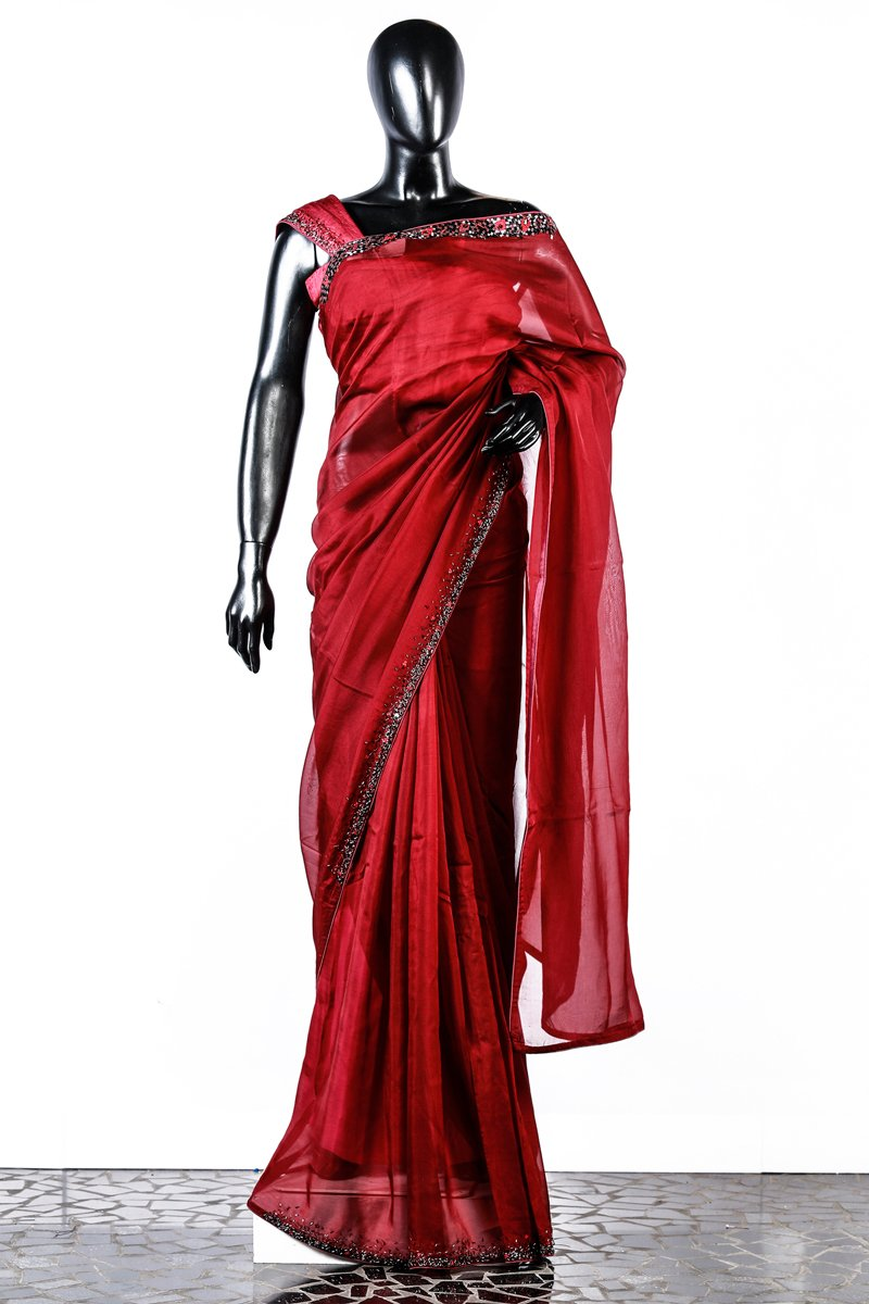 Paris Blood Red Organza Embroidered Saree And Rawsilk Blouse