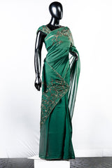 Paris Fern Green Floral Worked Organza Saree And Rawsilk Blouse