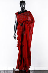Paris Berry Red Organza Embroidered Saree And Rawsilk Blouse