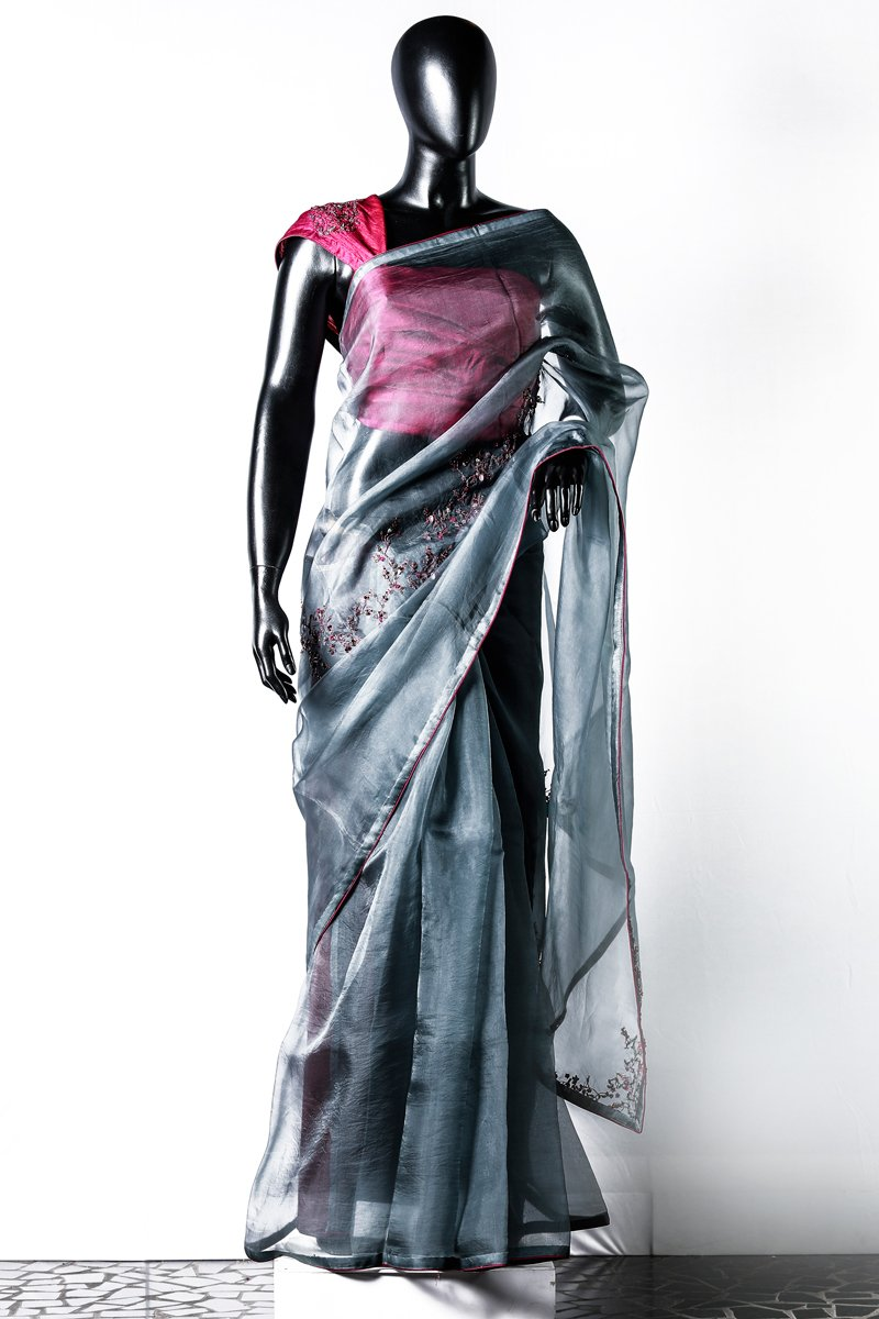 Ash Organza Embroidered Saree