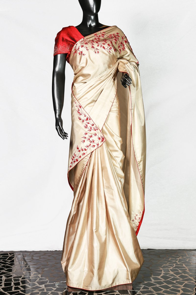 Paris Cream Embroidered Kanchipuram Silk Saree And Red Raw-silk Blouse
