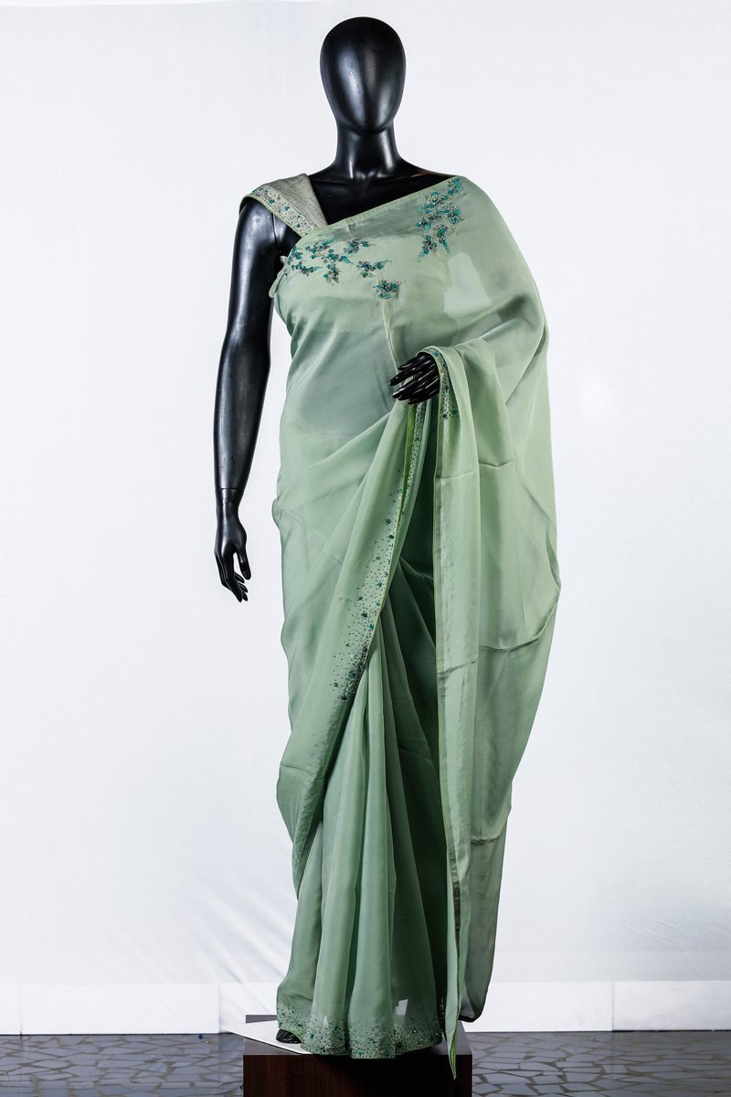Light Green Organza Embroidered Saree