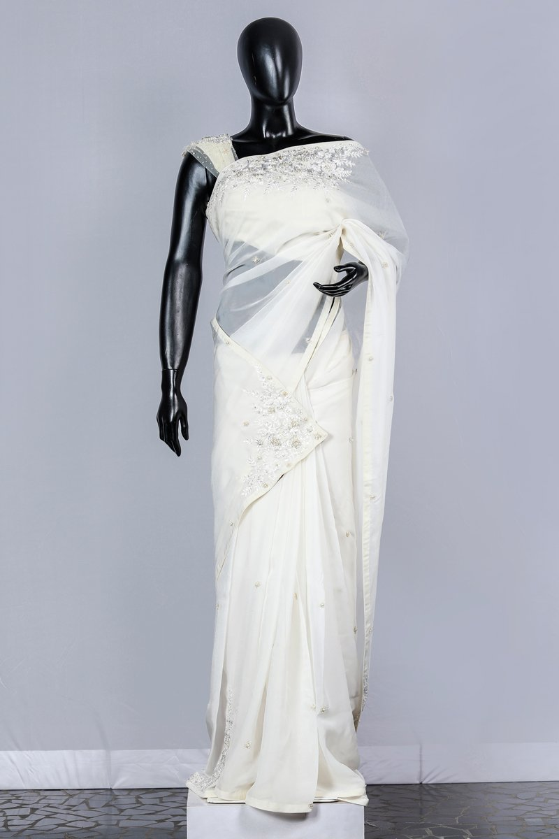 Paris Off White Embroidered Organza Wedding Saree And Linen Net Blouse