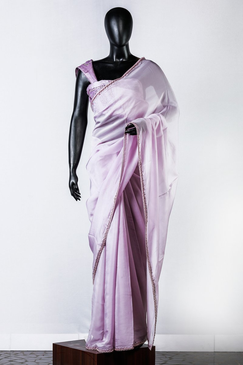Lavender Embroidered Organza Saree And Linen Silk Blouse