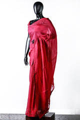 Paris Ruby Red Organza Embroidered Saree And Rawsilk Blouse