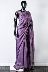 Purple Organza Embroidered Saree