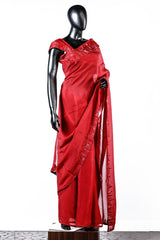 Red Line Worked Organza Saree And Rawsilk Blouse
