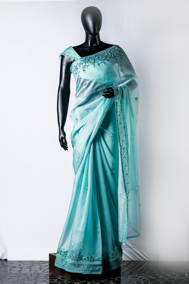 Light Skyblue Organza Embroidered Saree