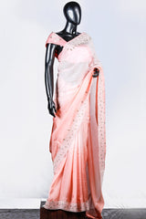 Shaded Peach Crispy Georgette Embroidered Saree