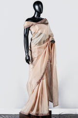 Paris Peachy Cream Upada Silk Multi Colour Embroidered Saree And Blouse