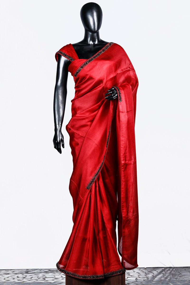 Paris Deep Red Crispy Georgette Saree And Rawsilk Blouse