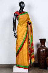 Paris Yellow- Red Floral Printed Georgette Saree And Blouse