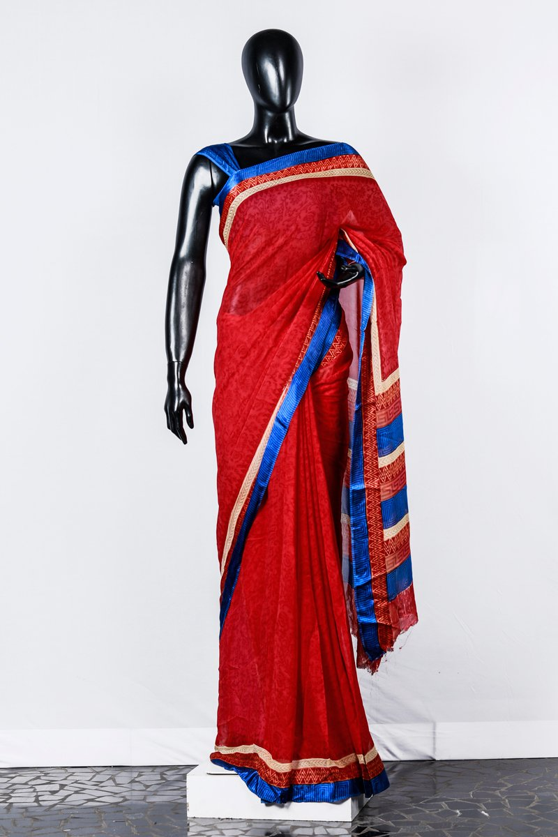Paris Cherry Red- Blue Geometrical And Floral Printed Georgette Saree And Blouse