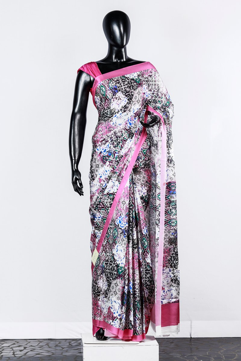Paris Pink Printed Modal Satin Saree And Pink Modal Satin Blouse