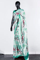 Paris Aqua Blue- Offwhite Printed Modal Satin Saree And Crape Silk Blouse