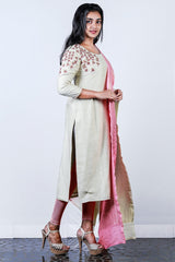 Cream Embroidered Tissue Semi-stitch Salwar With Shaded Brocade Duppatta
