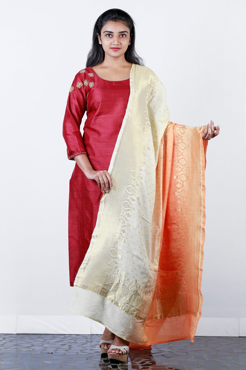 Maroon Embroidered  Rawsilk Semi-stitch Salwar And Shaded Brocade Duppatta