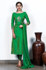 Green Chanderi Embroidered Semi-stitch Salwar