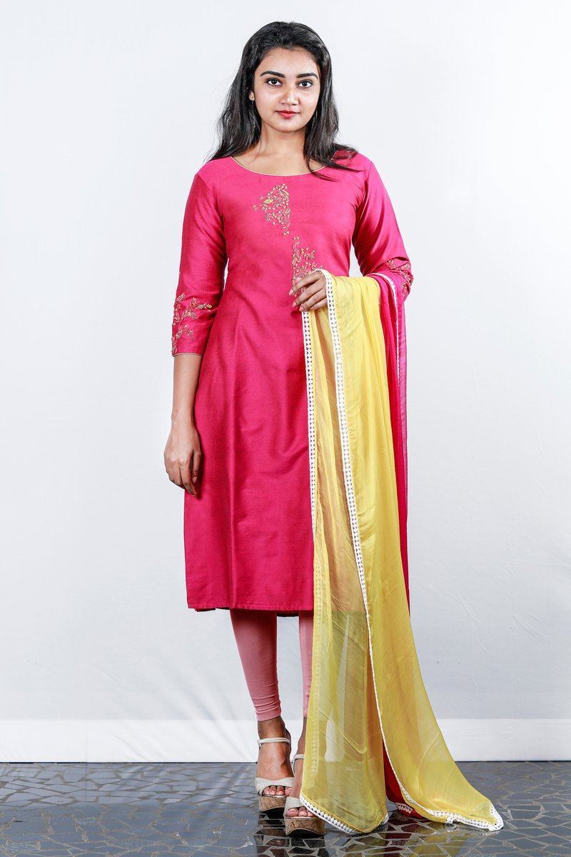 Deep Pink Floral Motif Embroidered Chanderi Semi-stitch Salwar