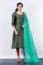 Paris Deep Green Embroidered Linen Silk Salwar