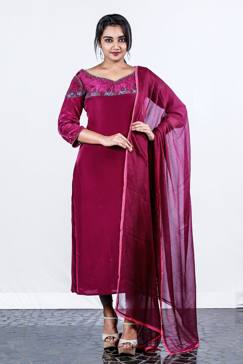 Paris Deep Purple Embroidered Crape Silk Semi-stitch Salwar