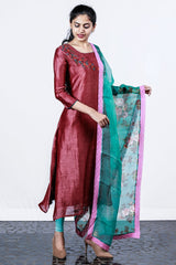 Paris Dull Maroon Floral Embroidered Linen Silk Semi-stitch Salwar