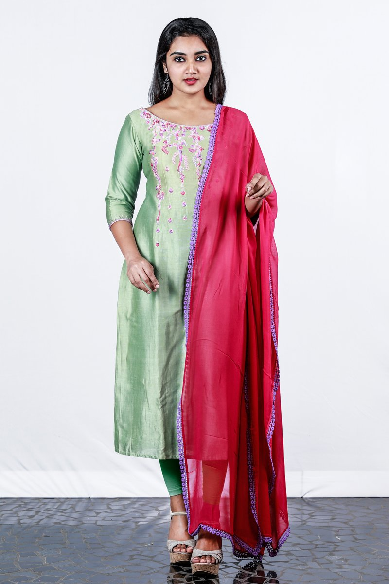 Light Green Floral Embroidered Chanderi Semi-stitch Salwar