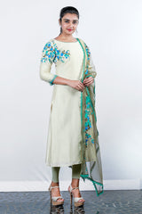 Creame And Green Chanderi Embroidered Semi-stitch Salwar