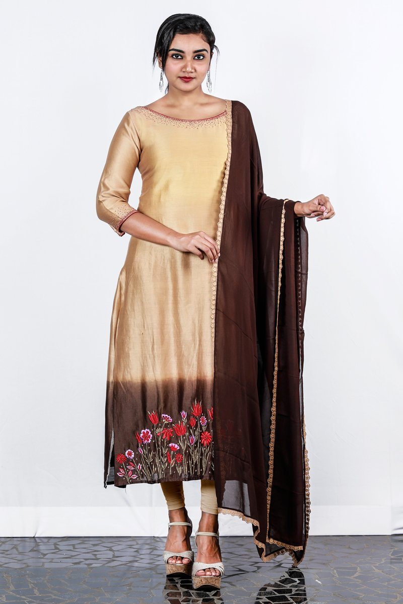 Paris Cream-brown Shaded Chanderi Semi-stitch Salwar With Zari And Thread Floral Embroidery