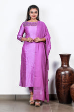Purple Linen Silk Semi-stitch Salwar With Bead Flowers And Zardosi Leaves
