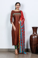 Paris Brown Embroidered Dupion Silk Semi-stitch Salwar
