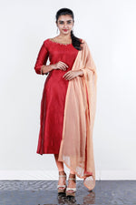 Paris Red- Peach Chanderi Embroidered Semi- Stitch Salwar