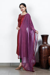 Maroon Chanderi Cut-worked And Appliqued Semi-stitch Salwar