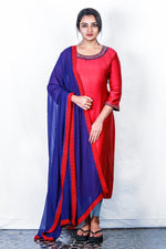 Reddish Maroon-blue Chanderi Embroidered Semi-stitch Salwar