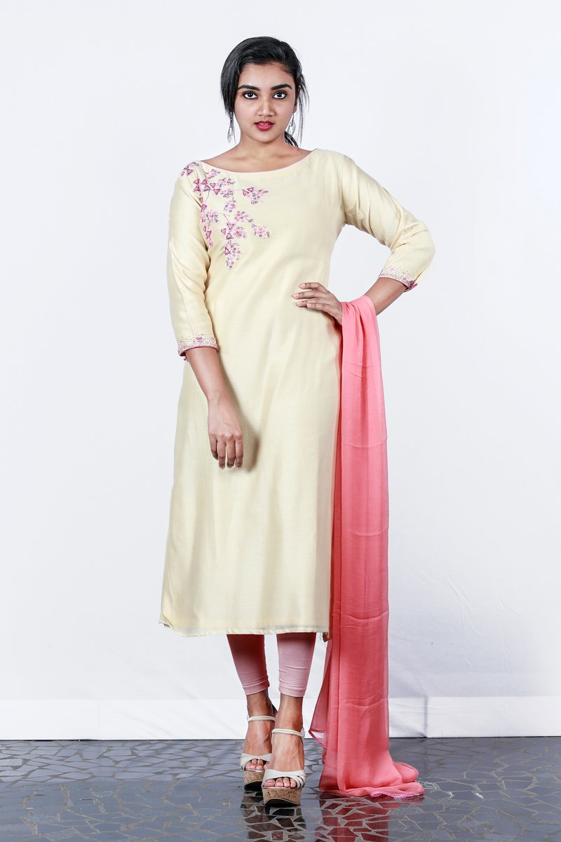 Paris Cream-peach Chanderi Embroided Semi-stitch Salwar