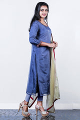 Bluish Grey Embroidered Organza Semi-stitch Salwar
