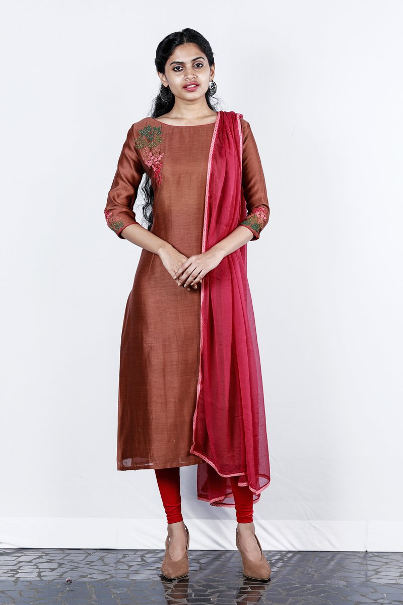 Brown- Deep Pink Chanderi Embroidered Semi-stitch Salwar
