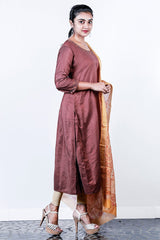 Brown Embroidered  Chanderi Semi-stitch Salwar