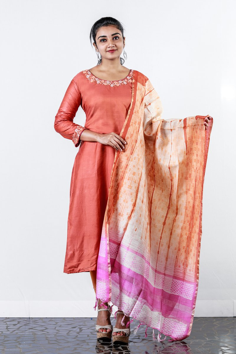 Paris Orange Tusser Cotton Embroiderd Semi Stitched Salwar