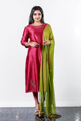 Paris Deep Pink- Green Chanderi Embroidered Semi Stitched Salwar