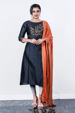 Paris Black Chanderi Embroidered Semi- Stitch Salwar