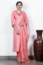 Peach Organza Semi-stitch Salwar With Velvet Florals And Embossed Leaves
