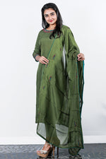 Forest Green Organza  Embroidered Semi-stitch Salwar