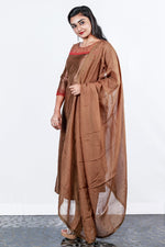 Brown Rawsilk Gem And Bead Worked Semi-stitch Salwar